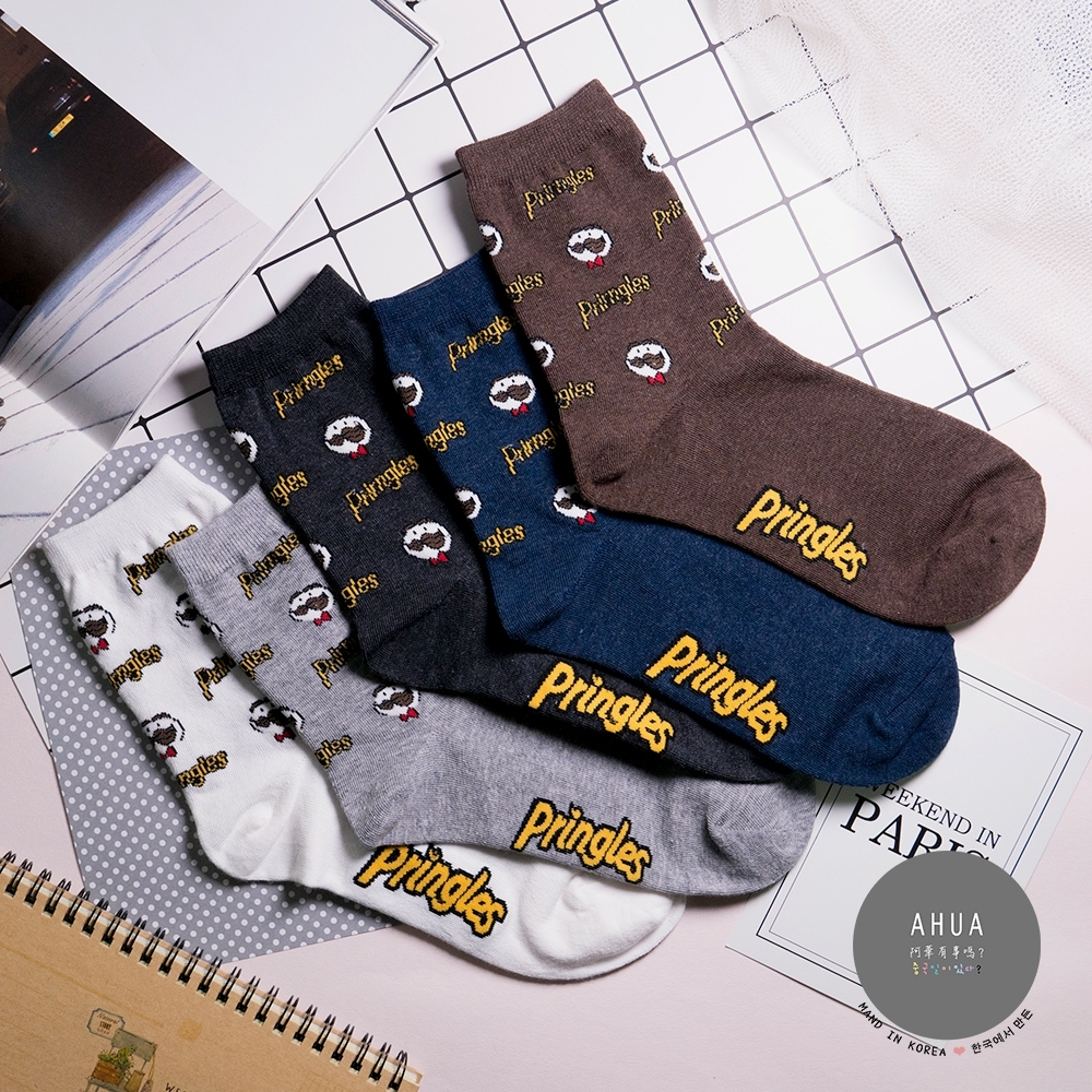 阿華有事嗎 韓國襪子  俏皮滿版品客先生中筒襪 韓妞必備少女襪 正韓百搭純棉襪