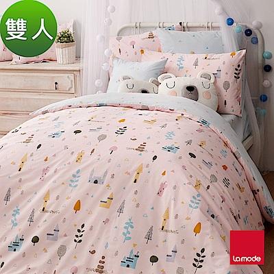 La Mode寢飾 粉紅蜜森林環保印染100%精梳棉兩用被床包組(雙人)