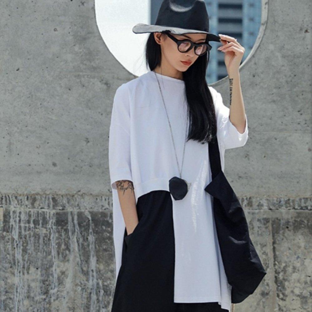 設計所在Style-港風個性缺口寬鬆中長版短袖T恤