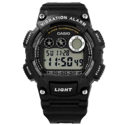 CASIO 卡西歐 計時電子橡膠手錶-黑色 W-735H-1A 48mm