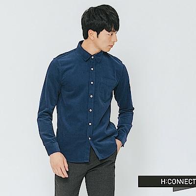 H:CONNECT 韓國品牌 男裝-質感純色燈芯絨襯衫-藍