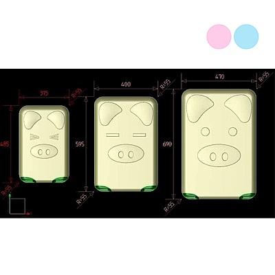 BEAR BOX 三隻小豬之豬事如意系列二件組28吋-24吋-輕硬殼行李箱-粉藍