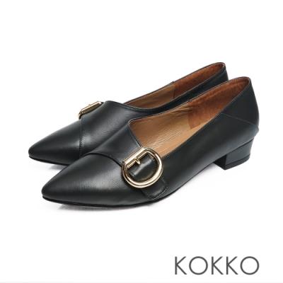 KOKKO - 心的盡頭小方頭D扣羊皮低跟鞋 - 深墨綠