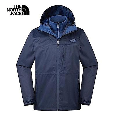 The North Face北面男款深藍色防風防水三合一外套|3V9BLMW