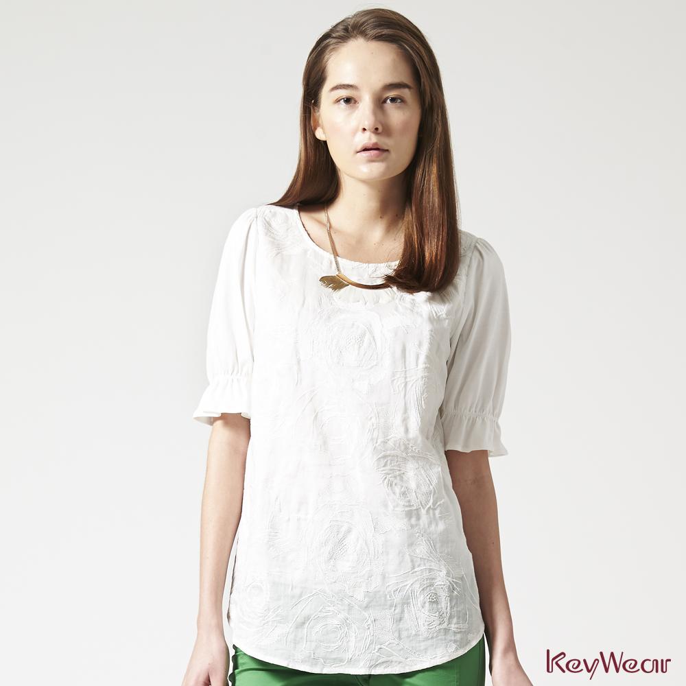 KeyWear奇威名品    100%苧麻細緻繡工七分袖上衣-白色