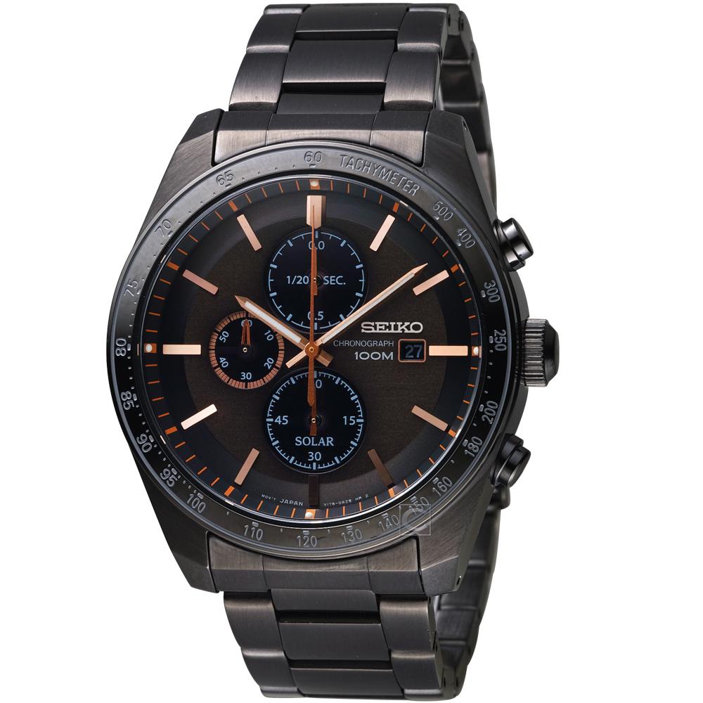 精工SEIKO潮流時尚太陽能計時腕錶(SSC733P1)- 黑x玫瑰金
