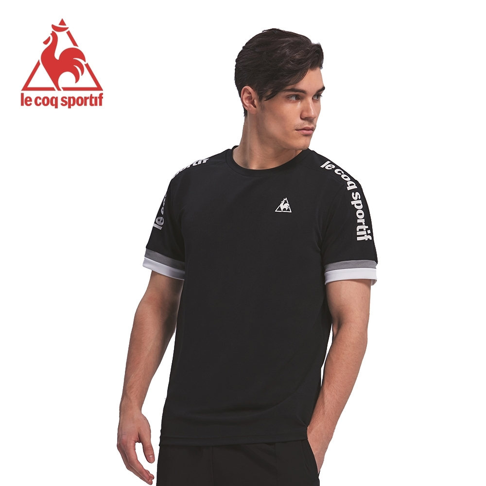 le coq sportif 法國公雞牌肩線拼接LOGO圓領短袖T恤 男-黑