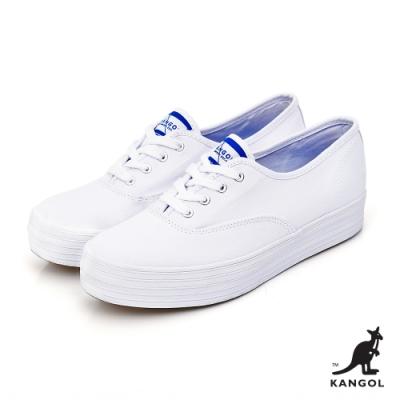 【KANGOL】經典潮流厚底帆布鞋-女-白