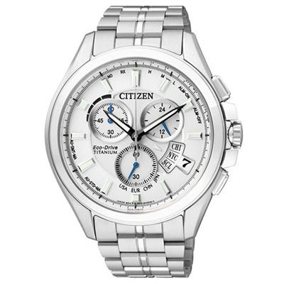CITIZEN 王牌紳士光動能太金屬腕錶-銀白-45mm