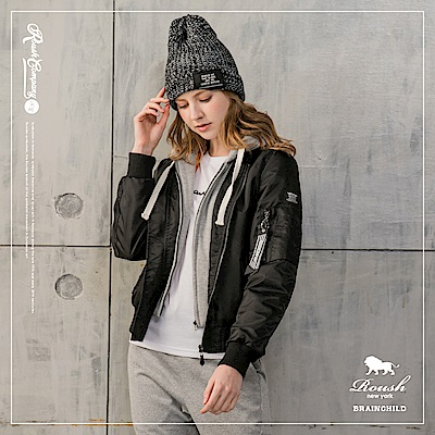 ROUSH 女生MA-1灰色連帽鋪棉飛行外套(帽不可拆) (3色)