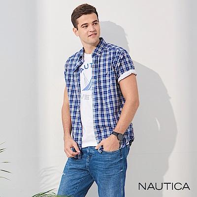 Nautica經典中格紋短袖襯衫-深藍格