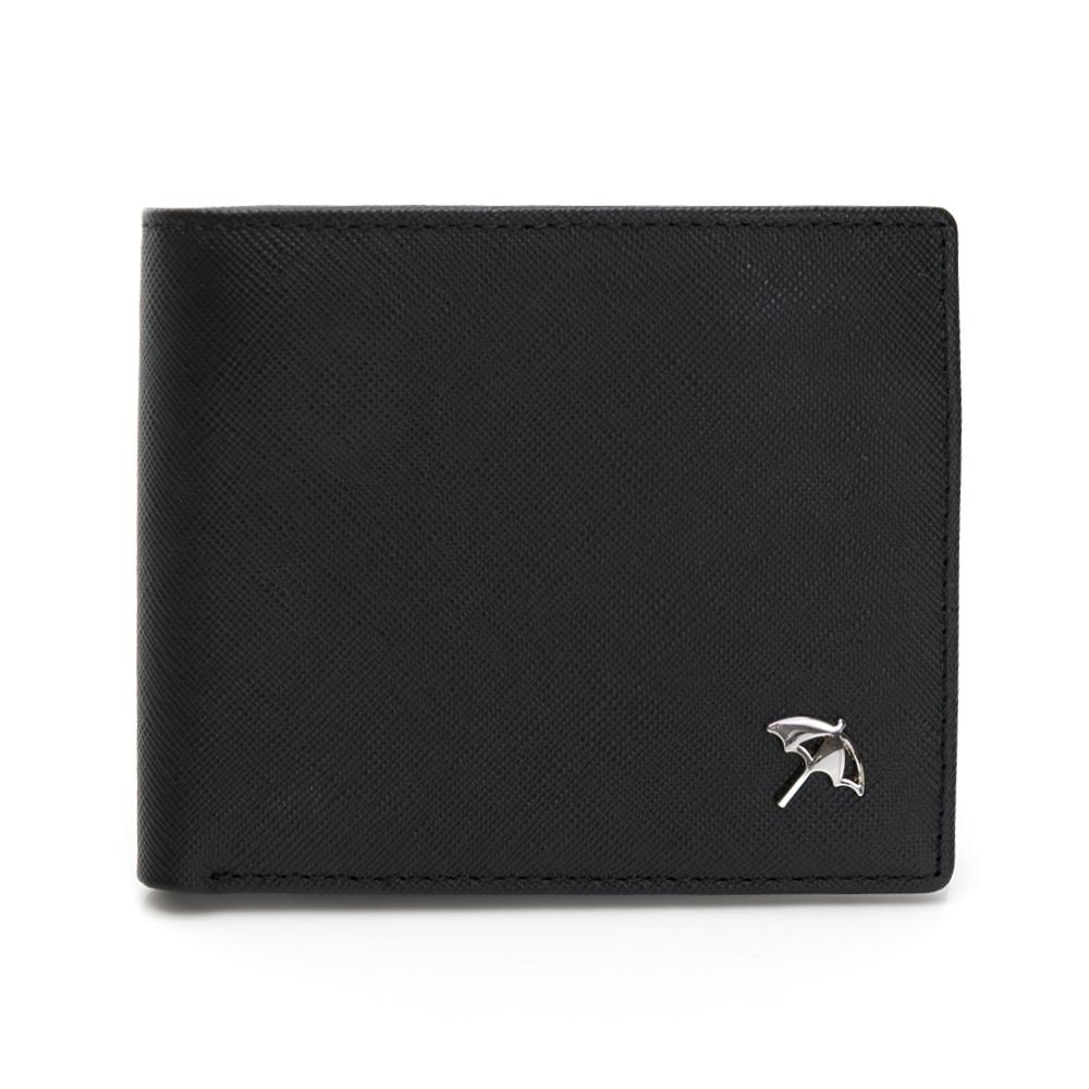 Arnold Palmer- 基本短夾  十字紋皮夾系列-黑色