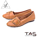 TAS 金屬皮扣帶拼接柔軟羊皮平底鞋-焦糖卡其
