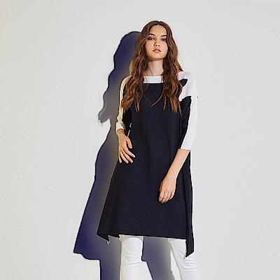 ICHE 衣哲 不規則設計撞色拼接七分袖針織長版造型上衣-藍