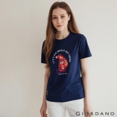 GIORDANO  女裝Bear on Bike印花T恤 - 10 海底藍