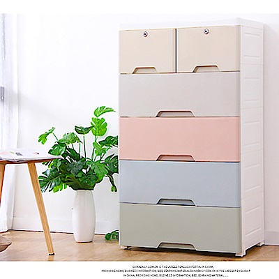 [時時樂限定] 60面寬大容量質感簡約可拆式五層抽屜收納櫃-附鎖附輪