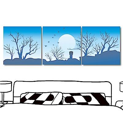 美學365 三聯式 風景無框掛畫-天藍藍30x30cm