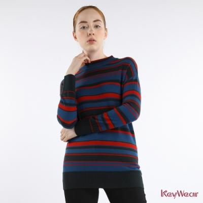 KeyWear奇威名品    100%羊毛高領條紋長袖毛衣-藍色