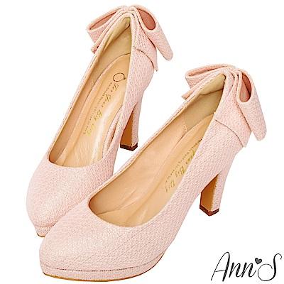 Ann'S甜美絮語-後跟立體大蝴蝶結防水台高跟鞋-粉