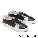 休閒鞋 MELROSE 質感時尚雙色拼接全真皮休閒鞋-黑
