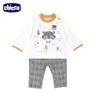 chicco-浣熊學士-提織格紋褲長袖套裝