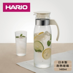 [日本HARIO]耐熱玻璃冷水壺1400ml-白