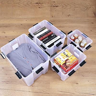 創意達人漢克套裝組可疊式防潮收納箱(附輪)4入組