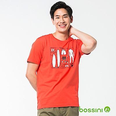 bossini男裝-印花短袖T恤47茄紅