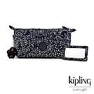 Kipling 奇幻藍羽斑紋附隨身鏡化妝包-ART POUCH