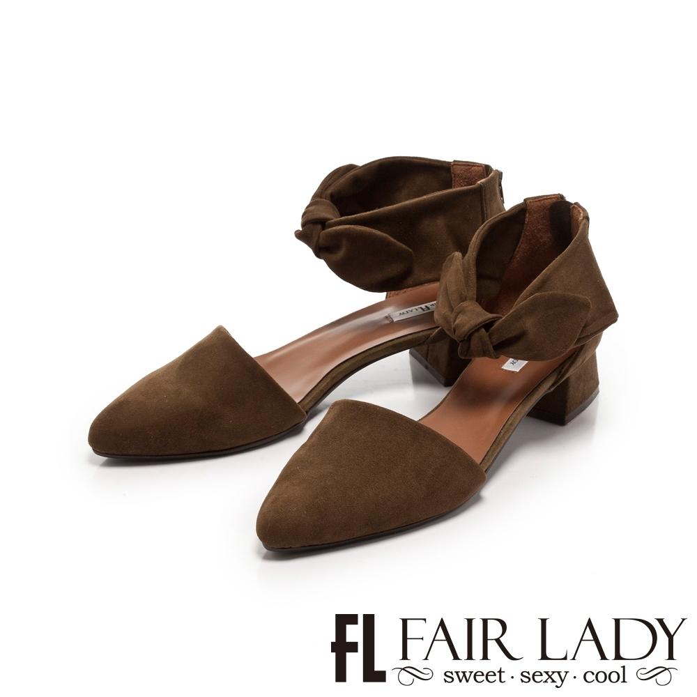 FAIR LADY 蝴蝶結繫踝尖頭低跟鞋 橄欖綠