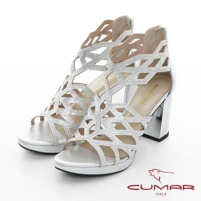 【CUMAR】情迷哈瓦那 - 菱形鏤空線條排鑽高跟涼鞋-銀