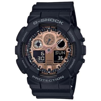 G-SHOCK 時尚霧面黑搭配玫瑰金設計風格雙顯錶-(GA-100MMC-1A)/55mm