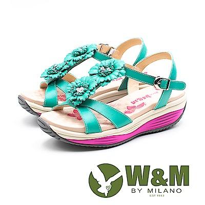 W&M FIT(女)健走運動風 彈力增高涼鞋-綠(另有桃)