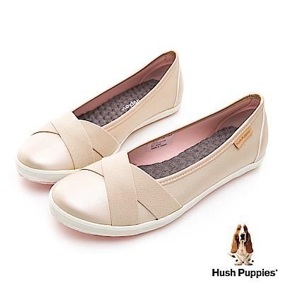 Hush Puppies 皮質咖啡紗交叉帶娃娃鞋-淺金