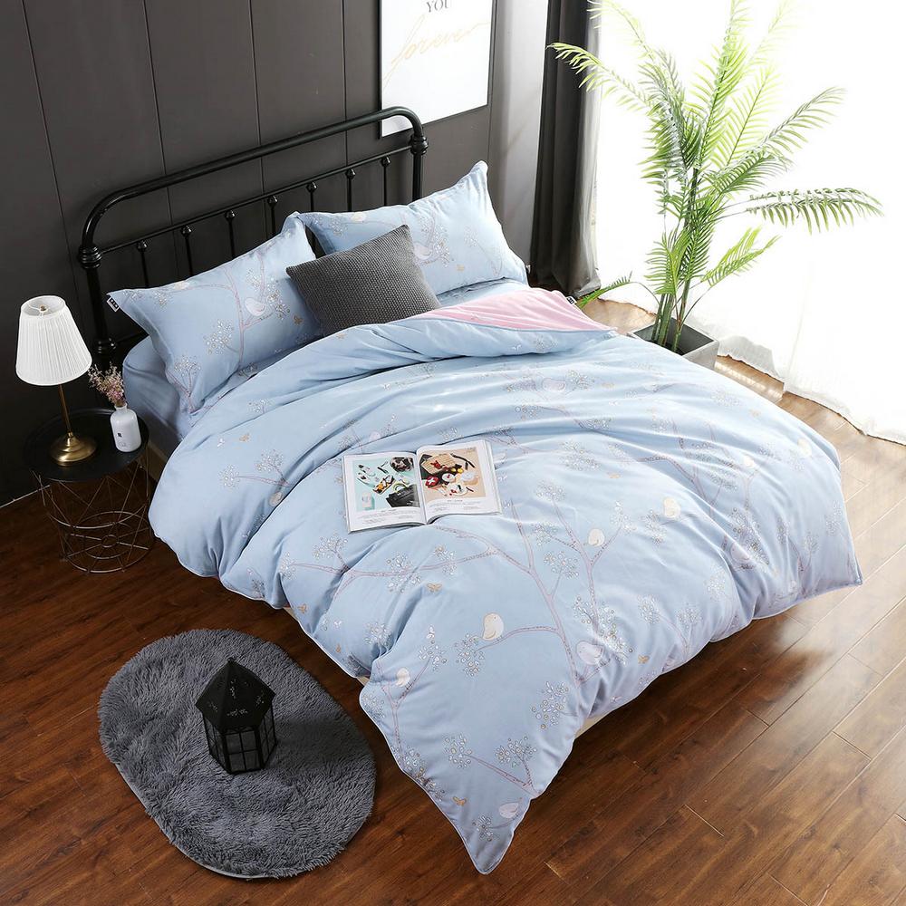 夢工場 喜鵲枝頭40支紗精梳棉兩用被床包組-加大