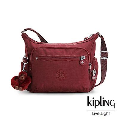 Kipling高雅酒紅多袋實用側背包(小)