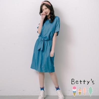 betty's貝蒂思 縮腰穿帶後拉鍊牛仔洋裝(淺藍)