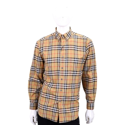 BURBERRY Vintage 格紋扣領棉質襯衫(男款/古典黄)