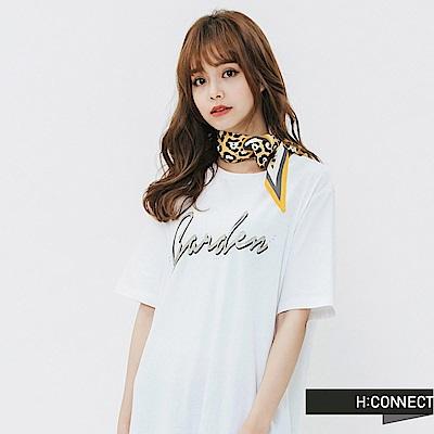 H:CONNECT 韓國品牌 -撞色滾邊豹紋領巾-黃