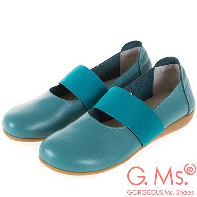 G.Ms. MIT系列-牛皮鬆緊帶圓頭平底休閒鞋-綠色