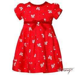 Anny喜洋洋紅調公主袖蝴蝶結塗鴉洋裝*6406紅