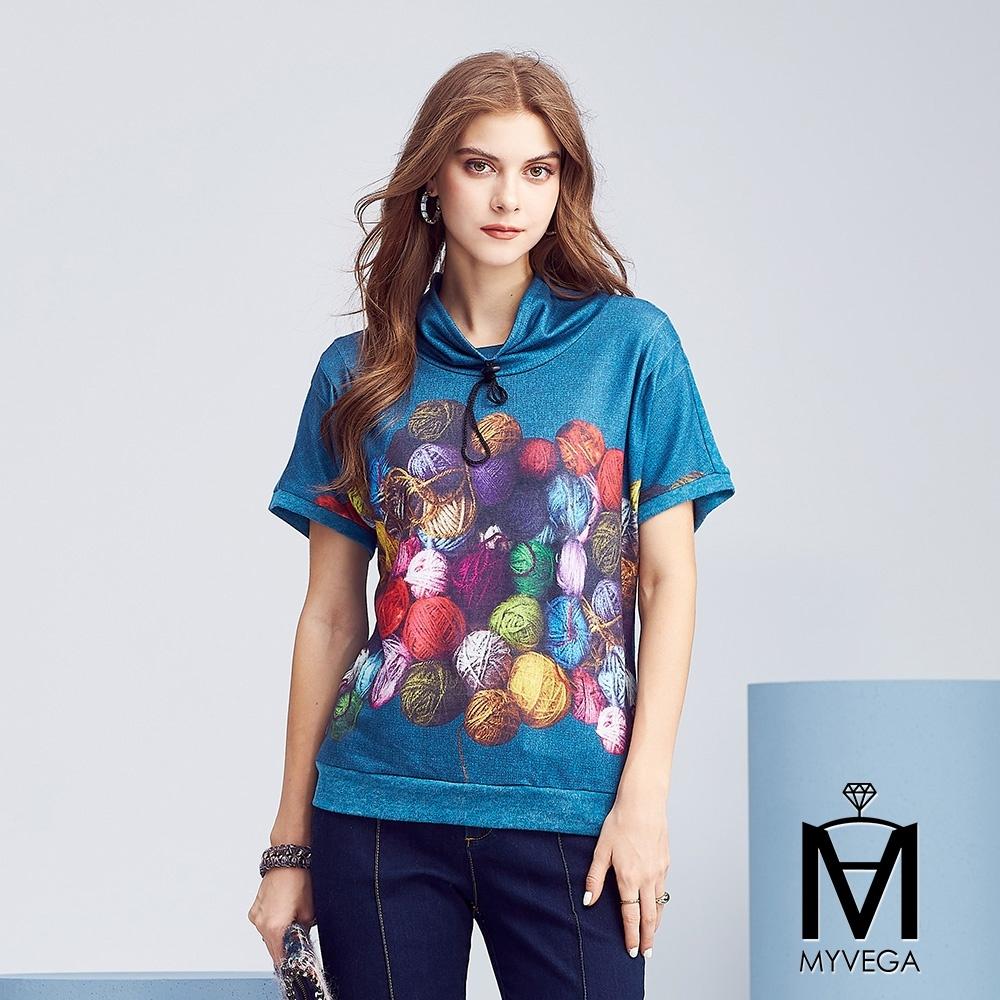 MYVEGA麥雪爾 MA鄉村毛線球飛鼠袖T恤-灰藍