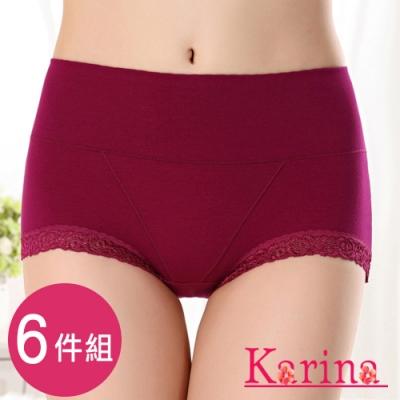 Karina-親膚棉蕾絲包覆高腰內褲(6件)