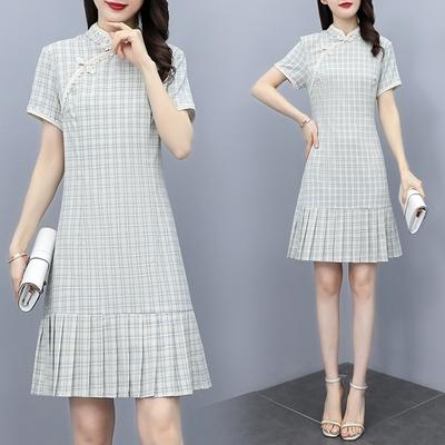 中式淺藍格紋改良旗袍洋裝M-3XL-REKO