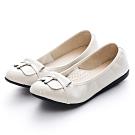 G.Ms. MIT系列-牛皮拼漆皮打結蝴蝶結平底娃娃鞋-米白