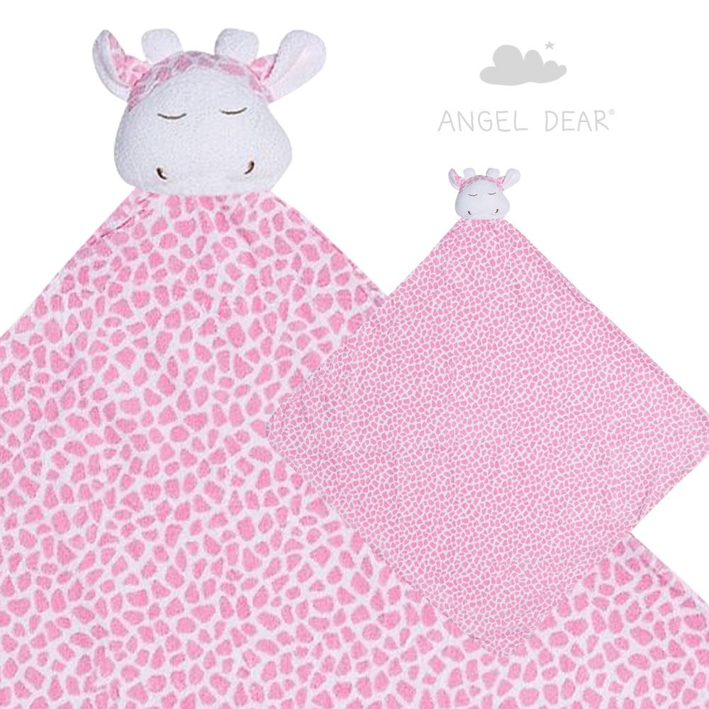美國 Angel Dear 大頭動物嬰兒毛毯 (粉紅長頸鹿)