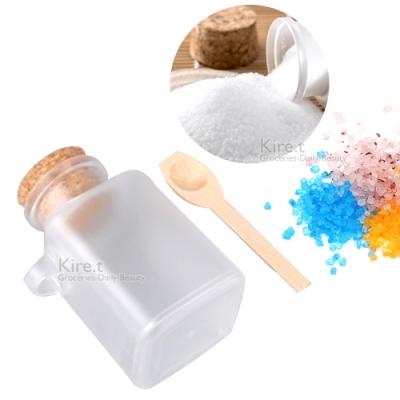 軟木塞 防潮 分裝瓶100ML 海鹽面膜粉專用霧面質感磨砂-贈專用原木湯匙kiret