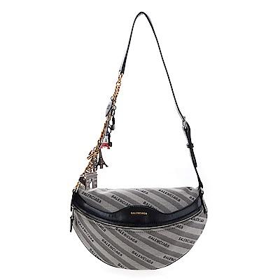 Balenciaga 新款緹花標識搭紀念吊飾揹帶斜跨包/腰包 (灰色)