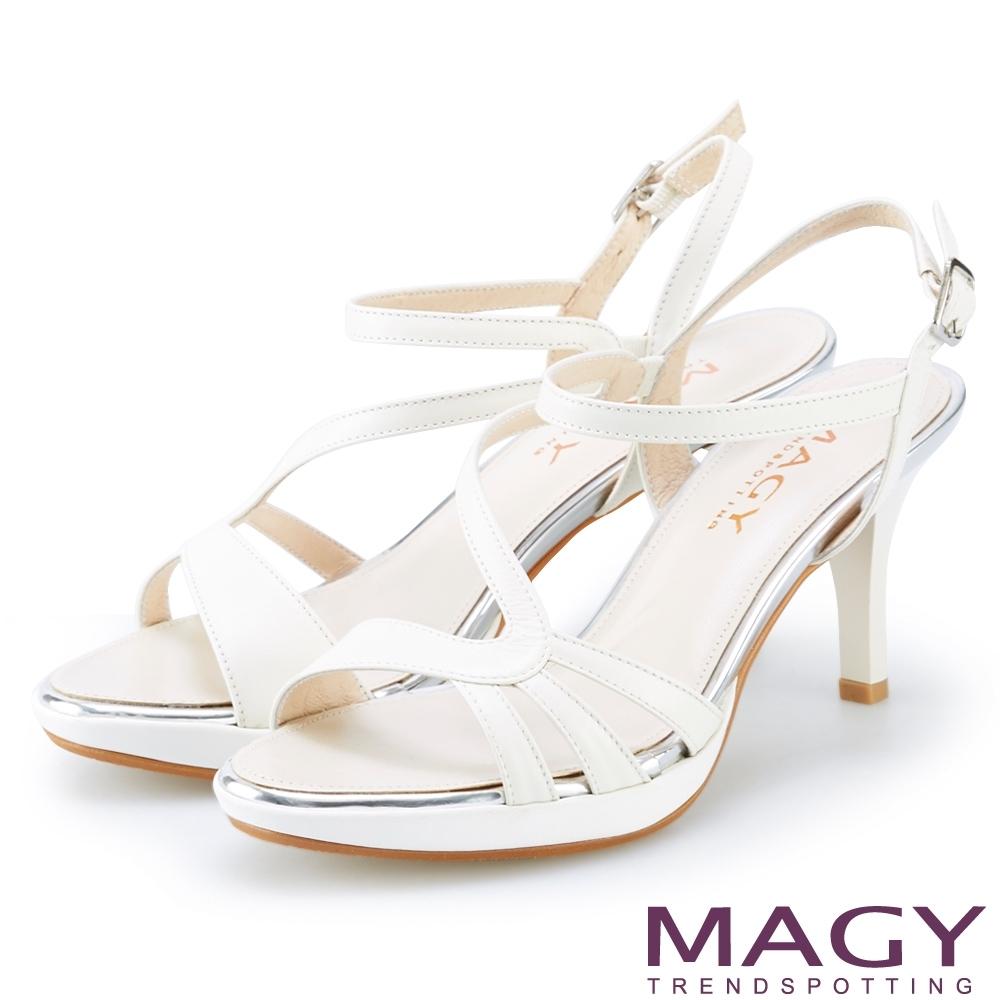 MAGY 細版牛皮踝繞帶高跟涼鞋 白色