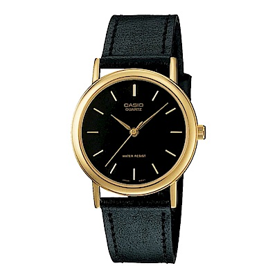 CASIO 首席經典簡約風丁字面時刻皮帶腕錶(MTP-1095Q-1)黑/39mm